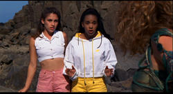 Amy Jo Johnson as The Pink Ranger and Karan Ashley as The Yellow Ranger