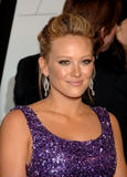 Hilary Duff in glittering purple dress at 2008 CFDA Fashion Awards at The New York Public Library